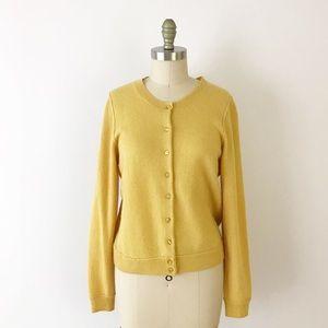 Mustard Yellow Cashmere Long Sleeve Cardigan N657